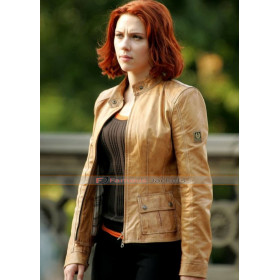 Scarlett Johansson Tan Brown Leather Jacket