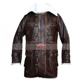 The Dark Knight Rises Bane Distressed Cowhide Dark Brown Coat