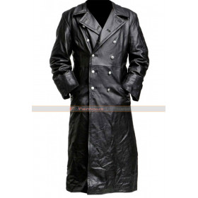 German Classic Officer War Black Trench Coat