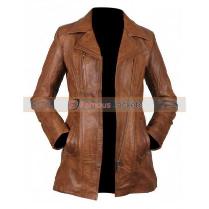 Ladies Brown Long Leather Jacket