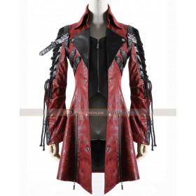 Poison Goth Steampunk Red Black Women Leather Coat
