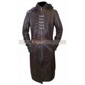 Steampunk Gothic Hooded Trench Black Leather Coat