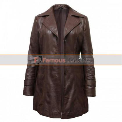 Vintage Brown Women Slimfit Long Coat