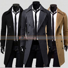 Mens Double Breasted Trench Coat - Casual Slim Fit Winter Blazer