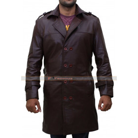 Watchmen Rorschach Trench Brown Leather Coat Costume