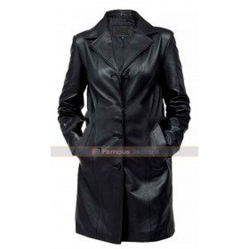 Womens Black Leather Trench Coat UK
