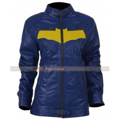 Batgirl Blue Leather Jacket