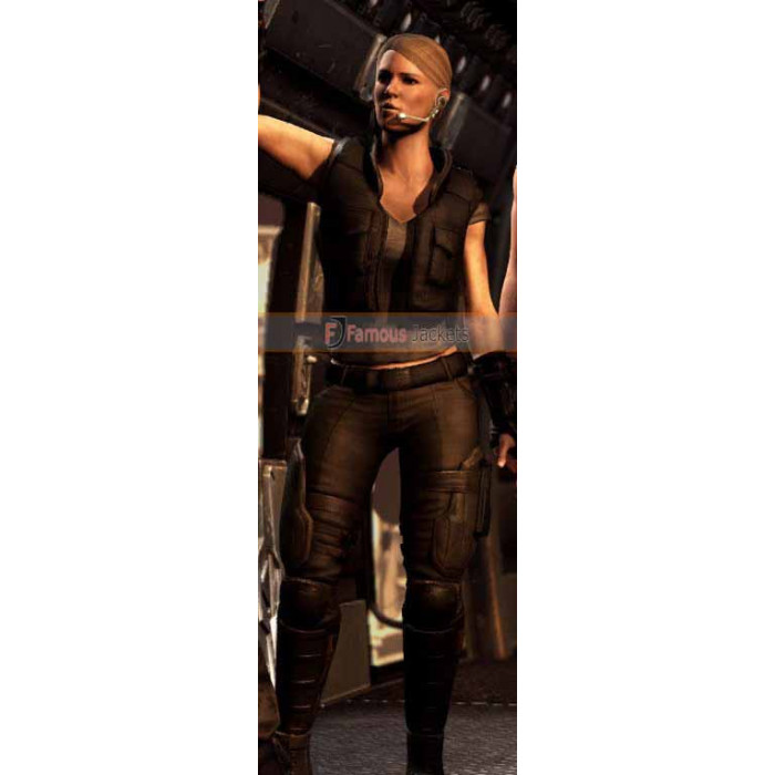 Sonya Blade Mortal Kombat X Black Leather Vest Costume