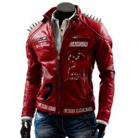 Men's Studded Danger Last I Am Venomous Spikes Jacket