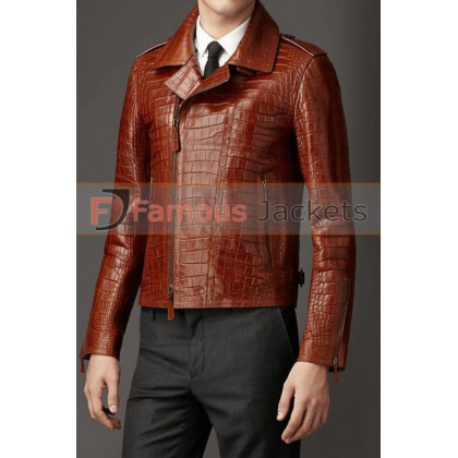 Alligator Brown Leather Jacket