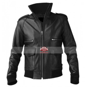 Mens Black Pu Leather Jacket With Straight Zipper