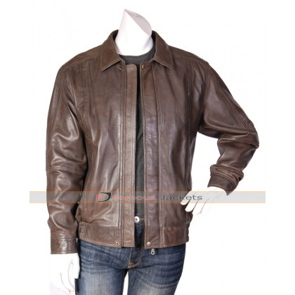 Blouson Mens Bomber Leather Brown Jacket
