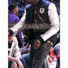 Kanye West Balmain Teddy Silver Sleeves Leather Jacket