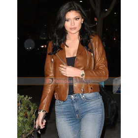 Kylie Jenner Acne Studios Brown Biker Leather Jacket