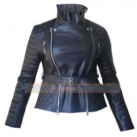 Rachel Bilson Rocks Quilted Black Leather Jacket