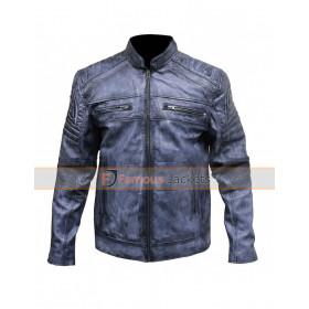Cafe Racer Men's Vintage Distressed Blue Motorcycle Jacket