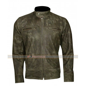 Men's Distressed Wax Biker Vintage Cafe Racer Leather Jacket