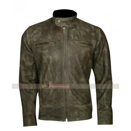 Men's Distressed Wax Biker Vintage Cafe Racer Leather Jacket