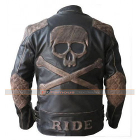 Reinforced Vintage Black Distressed Leather Skull Jacket
