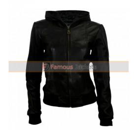 Women Black Leather Bomber Jacket With Hood