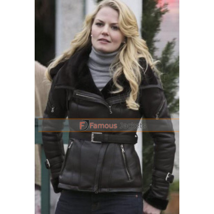 Once Upon A Time Emma Swan Hooded Black Leather Jacket