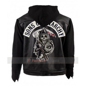 sons of anarchy hooded leather jacket for sale. Black Bedroom Furniture Sets. Home Design Ideas