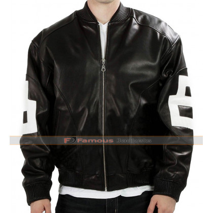 8 Ball Mens Bomber Black Leather Jacket