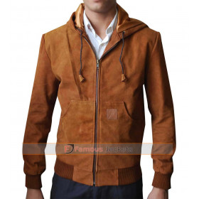 Jackie & Ryan Ben Barnes Brown Suede Leather Bomber Jacket