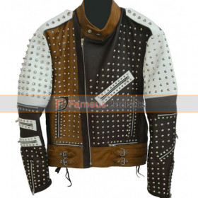 Men's Pop Rock Style Multicolor Studded Biker Jacket