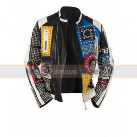 Men's Studded Punk Nip Rock Retro Multicolor Jacket