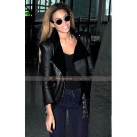 Beyonce Balmain Shearling Black Biker Leather Jacket
