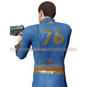 Vault Fallout Video Game 76 Blue Leather Jacket