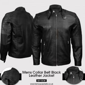 Mens Quilted Bomber Black Leather Jacket UK