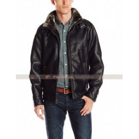 Mens Pebble Black Leather Motorcycle Jacket