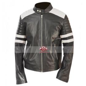 Brad Pitt Fight Club Mayhem Black Jacket With White Stripes