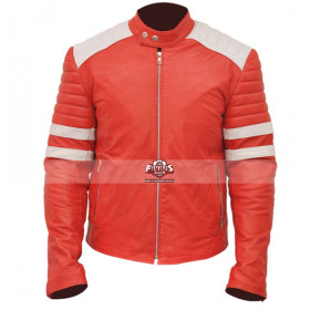Brad Pitt Fight Club Mayhem Red/White Stripes Jacket