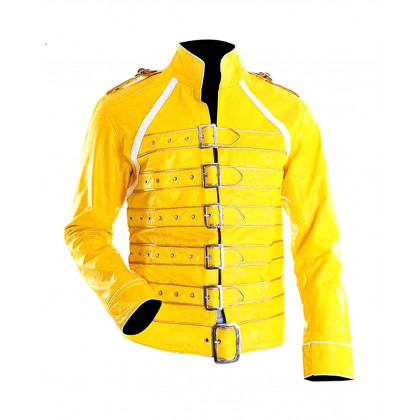 Replica Freddie Mercury Concert Yellow Leather Jacket