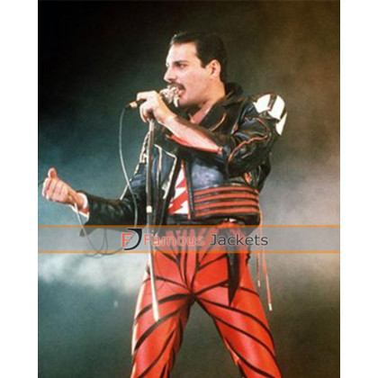 Sydney Concert Freddie Mercury Biker Red And Black Jacket
