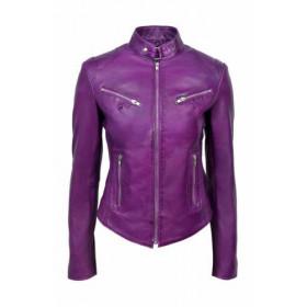Women's Slim Fit Purple Biker Leather Jacket