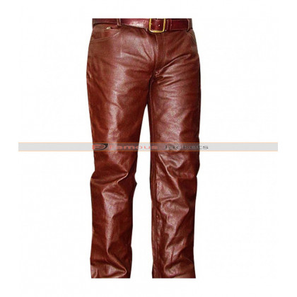Men's Brown Real Leather Pants