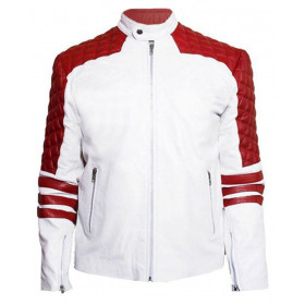 Men's Red and White Motorcycle Leather Jacket
