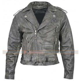 Men's Belted Distressed Black Biker Jacket
