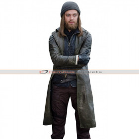 Tom Payne The Walking Dead Brown Leather Trench Coat