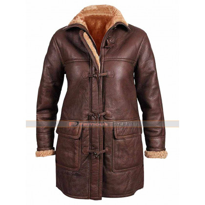 Womens B3 Fur Shearling Sheepskin Hoodie Leather Coat