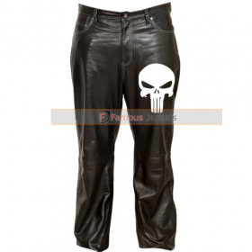 Punisher Skull Tactical Black Leather Pants