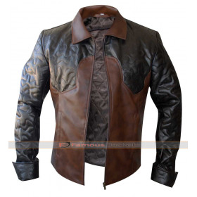 Criss Angel Quilted Biker Style Brown Leather Jacket