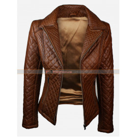 Womens Brown Quilted Leather Jacket