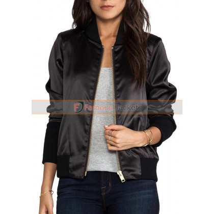 Replica Smythe Satin Bomber Black Jacket For Women
