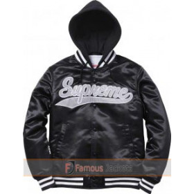 Drake Wears Supreme Hooded Satin Varsity Jacket at Madeo Restaurant