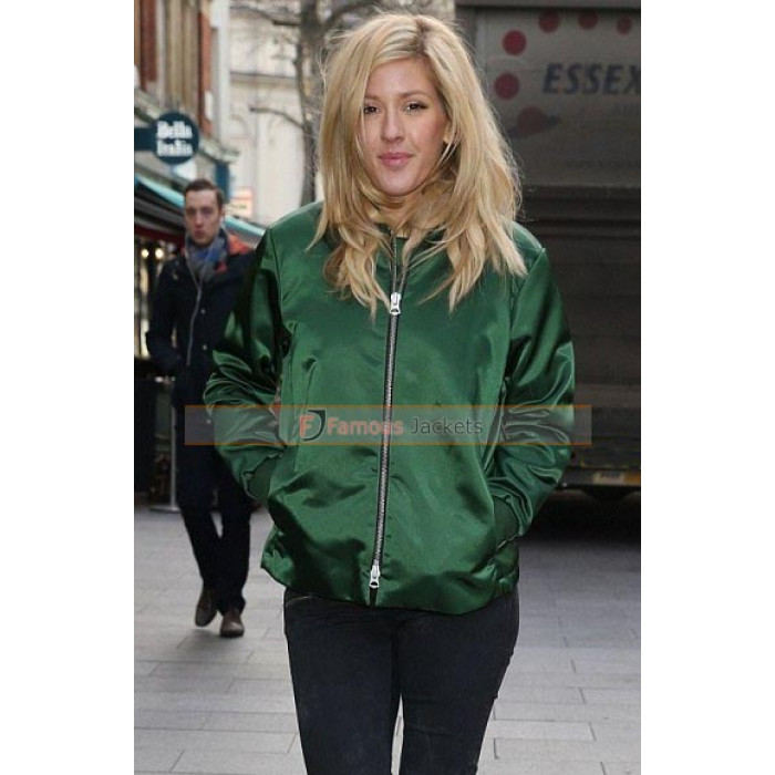 Goulding Emerald Green Bomber Satin Jacket